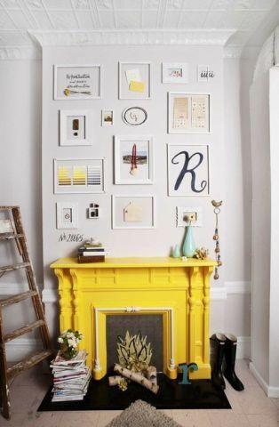 Yellow fireplace